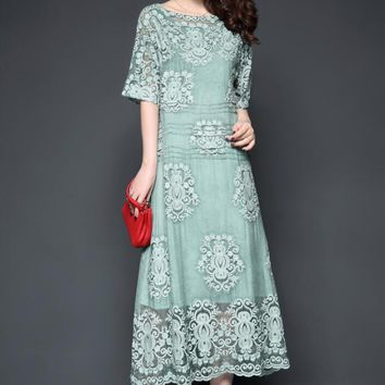 2018 New Faux Silk Lace Embroidered Long Slash Neck Big Swing Dress Thin Elegant Temperament Short Sleeve Dress AW768