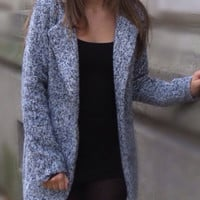 Coat Grey Long Tweed Button Fall Winter Warm Fashionable Jacket