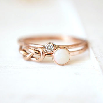 Opal Ring, Moissanite Ring, Infinity Knot Ring, Ring Set, Push Present, gift for her, stacking rings, 14k gold ring, rose gold ring, promise