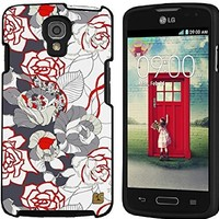 Premium Protection Slim Light Weight 2 piece Snap On Non-Slip Matte Hard Shell Rubber Coated Rubberized Phone Case Cover With Design For LG Volt LS740 - Vintage Rose - Black