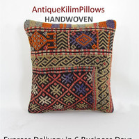 kilim rug pillow boho couch pillow cover throw pillow decorative pillow bedding pillow bedroom decor pillows 001116