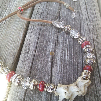 Tribal Red bone Necklace,Real animal Bone jewelry,Raccoon Vertebrae Necklace,Spine Jewelry,Shamans Wiccan Pagan Necklace,Larp Cosplay
