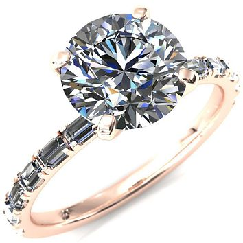 Judie Round Moissanite 4 V-Prong 1/2 Micropavé Baguette Diamond Accent Engagement Ring
