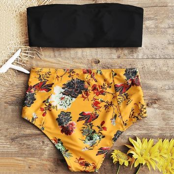 47c77b687b45d 2018 New Strapless Floral High Rise Bathing Suit Strapless Swimw