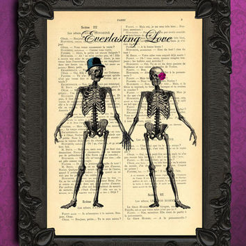 Everlasting love skeletons antique illustration - beautifully upcycled dictionary page book art print - altered book page print