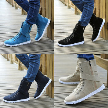 Mens Trendy High-Top Casual Lace Zip Velcro Boot Shoe