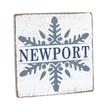 Personalized Snowflake Vintage Wood Sign - 12 x 12