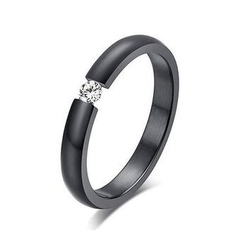 Fashion Titanium Steel Inlaid Wedding Band Ring