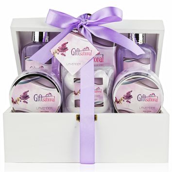 Spa Gift Basket with Sensual Lavender Fragrance - Best Wedding Birthday Anniversary or Graduation Gift for Women - Bath Gift Set Includes Shower Gel Bubble Bath Bath Salts Bath Bombs and More!