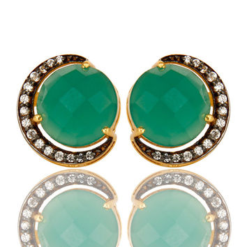 18K Gold Plated Sterling Silver Green Onyx And CZ Halo Half Moon Stud Earrings