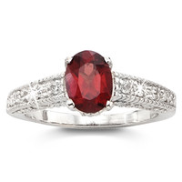 Genuine Garnet Solitaire Ring