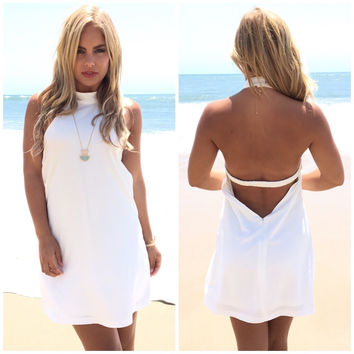 White V Neck Bottoming Lace Dress From Brooke Amp West