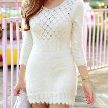 White Cut-Out Knitted Mini Dress