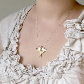 Solid Bronze Luna Moth Necklace by WoodlandBelle on Etsy