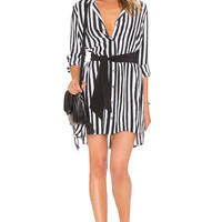 Equipment Kate Moss for Equipment Rosalind Button Up Dress in True Black & Nature White