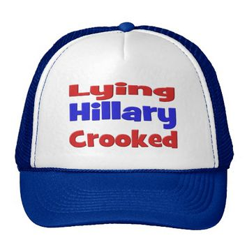 Lying Crooked Hillary Hat, red & blue Trucker Hat