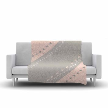 "Jennifer Rizzo ""Pink And Gray Arrows"" Gray Pink Digital Fleece Throw Blanket"