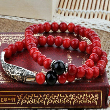 Silver Fish Bracelet for Mens or Women's Fashion Jewelry RED CORAL BRACELET