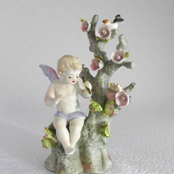 Lefton Cupid Figurine, Valentines Day, Mother Baby Birds, Angel Figurine, Bird Nest, Cupid with Arrow, Cherub Figure, Pastel Vintage Decor