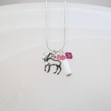 Moose Charm necklace small silver tone, peyote beaded bead, crystals