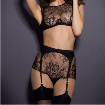 Lace Floral Lingerie Sets with Bra Garterbelt and Panty