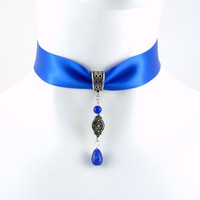 Blue Satin Choker Necklace with Long Sapphire Beads and Pewter Dangle - Victorian, Ball, Sexy, Glam, Lingerie, Elegant
