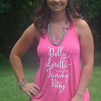 Dolly Loretta Tammy Patsy Tank in Hot Pink