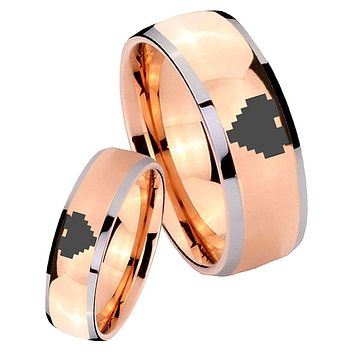 His Hers Rose Gold Dome Zelda Heart Two Tone Tungsten Wedding Rings Set