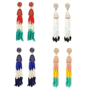 Multi-color Beaded Tassel Earrings