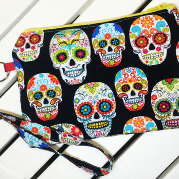 Sugar Skulls Wristlet with Removable Wrist Strap, Large Wristlet Wallet, Phone Wristlet, Clutch Wallet with Strap, Cell Phone Wallet,
