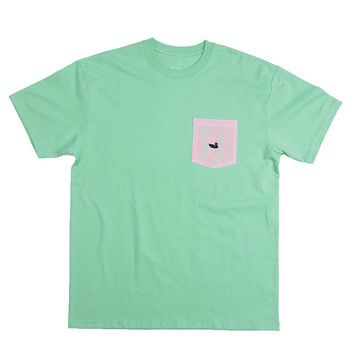 Stewart Seersucker Pocket Tee in Bimini Green w/ Pink by Southern Marsh