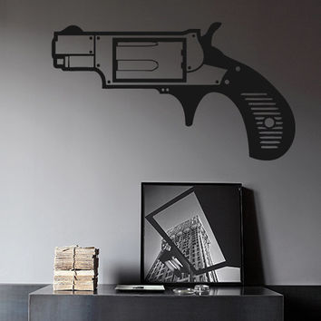 Wall Decor Vinyl Sticker Room Decal Gun Pistol Handgun Weapon Force Power Vis (s68)
