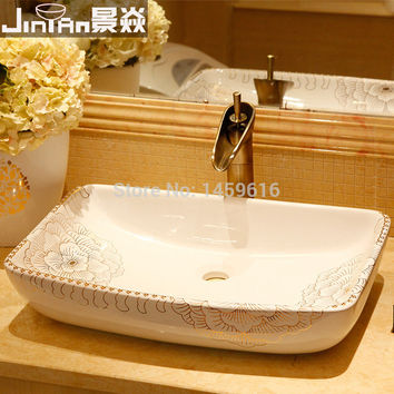 Rectangular Bathroom Lavabo Ceramic Counter Top Wash Basin Cloakroom Hand Painted Vessel Sink 5052