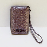 Vintage Elliott Lucca Woven Leather Wristlet, Wallet, Cell Phone Case