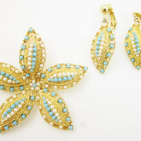 Flower Pin Earrings Set Turquoise Pearl Sarah Coventry Floral Brooch Pin Up Rockabilly Fashion Jewelry