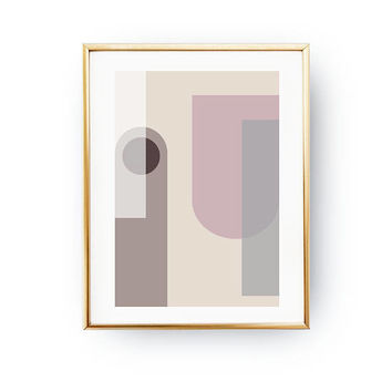 Pink Brown Pastel, Abstract Shapes, Geometric Design, Mid Century, Geometric Textures, Minimalist Poster, Textured Print, Pastel Wall Art