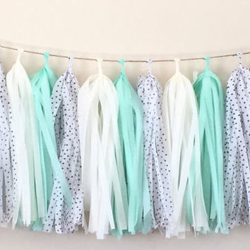 Tissue tassel garland / Fringe tassel garland / party decor / Wedding decoration / birthday party decor /sweet table buffet decor / PolkaDot