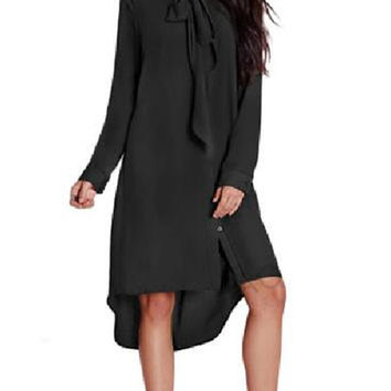 Tie-bow Neck Long Sleeves Dress