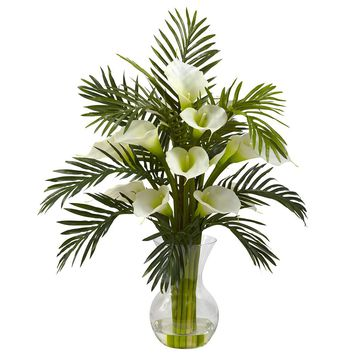 Silk Flowers -Cream Calla Lily And Palm Combo Arrangement Artificial Plant