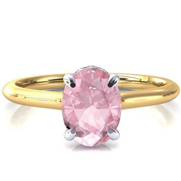 Secret Oval Pink Sapphire 4 Prong Floating Halo Engagement Ring
