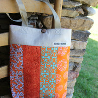 Ecofriendly JOLLY Patchwork Tote, Orange, Quilted Bag, IPad Tote, Netbook Tote  -- Upcycled Recycled Repurposed