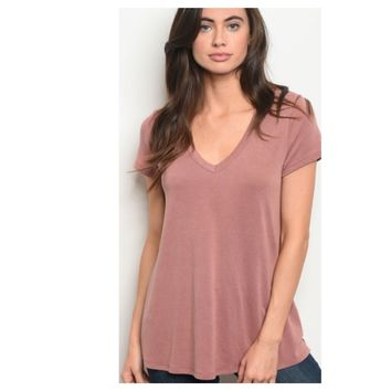 Adorable Me, Cutout Shoulder Brushed Mauve Tunic Top