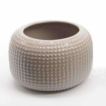 "6.5"" New Romance Decorative Contemporary Style Tan Brown Hobnail Design Porcelain Planter"