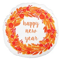 Happy New Year Winter Wreath Round Throw Pillow
