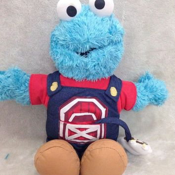 Animation Cartoon Hot ! Sesame Street COOKIE MONSTER 40cm Soft Plush Doll Toy Blue