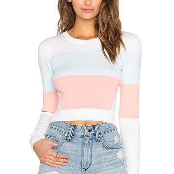 MILLY Cropped Colorblock Top in Blush Multi