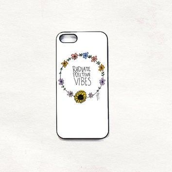Radiate positive vibes iPhone 5 5s 4 4s Hard Case Black/White/Transparent Grunge Indie Hipster Tropical Summer Tumblr One direction 5sos