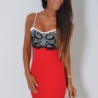 Celebrity-inspired fashion for Women Jolene Red, Black and White Lace Detail Mini Dress Pink Boutique