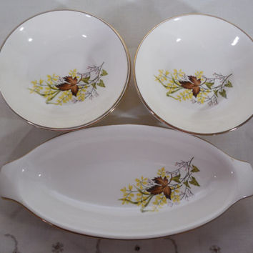 Leaf O' Gold China, Taylor Smith & T, 4 Fruit and Dessert Bowls, 1 Oval Hors-d'oeuvre or Side Dish, Vintage Fall China, Holiday Dinnerware