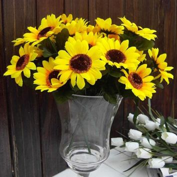 Retail 1 Bouquet Home Party Decor Display Artificial Silk Flower Simulation Sunflower Bouquet DIY artificial flowers 7 flower